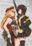 2girls ak-47 ak47_(girls_frontline) armband assault_rifle bangs belt_pouch beret black_legwear blonde_hair blue_eyes bra braid breasts brown_hair camouflage camouflage_shorts clip coat collared_shirt commentary_request cowboy_shot explosive eyepatch girls_frontline gloves green_bra grenade grey_background gun hat headphones headphones_around_neck highres jacket long_hair m16 m16a1 m16a1_(girls_frontline) magazine_(weapon) marpat multicolored_hair multiple_girls necktie open_clothes open_coat persocon93 pleated_skirt pouch red_scarf rifle scarf shirt shorts single_thighhigh skirt smile streaked_hair thighhighs trigger_discipline underwear vest weapon yellow_vest