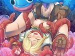 1girl artist_request blonde_hair breasts censored closed_eyes cum dark_matrix highres hunter_(ragnarok_online) medium_breasts merman monster monster_boy nipples open_mouth pubic_hair ragnarok_online rape shirt_pull solo_focus tears tentacles torn_clothes upside-down