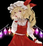 1girl black_background blonde_hair blood blush commentary cowboy_shot crystal eyebrows_visible_through_hair flandre_scarlet glowing glowing_wings hat hat_ribbon highres licking licking_blood light_particles long_hair long_sleeves looking_at_viewer mob_cap nail_polish one_side_up red_eyes red_nails red_ribbon red_skirt ribbon shirt simple_background skirt skirt_hold skirt_set slit_pupils solo symbol_commentary tongue tongue_out touhou vampire white_shirt wings wrist_cuffs yedan yellow_neckwear
