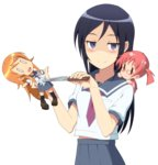 1girl aragaki_ayase blue_eyes blue_hair blue_skirt blush breast_pocket broken character_doll hands_up highres holding holding_doll holding_knife knife kousaka_kirino long_hair looking_at_viewer midiman navel necktie official_style ore_no_imouto_ga_konna_ni_kawaii_wake_ga_nai pleated_skirt pocket red_neckwear sailor_collar school_uniform serafuku shaded_face shirt skirt smile solo stabbed stabbing stuffed_toy stuffing sweatdrop transparent_background white_shirt
