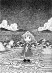 1girl chibi fan folding_fan hat japanese_clothes monochrome mountain nib_pen_(medium) ribbon saigyouji_yuyuko short_hair sky smile solo soyanrai touhou traditional_media triangular_headpiece