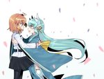 2girls amane_hikari black_legwear blush chaldea_uniform command_spell face-to-face fate/grand_order fate_(series) from_side fujimaru_ritsuka_(female) green_hair horns hug japanese_clothes kiyohime_(fate/grand_order) long_hair long_sleeves multiple_girls obi open_mouth orange_eyes orange_hair pantyhose petals sash skirt thighhighs very_long_hair white_background wide_sleeves yellow_eyes yuri