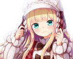 1girl :3 aran_sweater baram blonde_hair blush bow brown_bow closed_mouth green_eyes hands_up hat head_tilt long_hair long_sleeves looking_at_viewer mononobe_alice nijisanji plaid puffy_long_sleeves puffy_sleeves simple_background sleeves_past_wrists smile solo sweater upper_body virtual_youtuber white_background white_headwear white_sweater