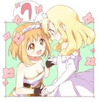 2girls :d bare_shoulders blonde_hair blush breasts cleavage collarbone commentary_request dress elbow_gloves endro! eyebrows_visible_through_hair fai_fai flower from_side gloves hair_flower hair_ornament hairband holding_hands large_breasts long_hair multiple_girls namori open_mouth orange_hair princess profile rona_pricipa_o_rabanesta short_hair smile strapless strapless_dress white_dress white_frills white_gloves