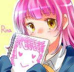 1girl amanayori bangs blue_jacket character_name commentary_request covering_mouth holding jacket long_hair looking_at_viewer love_live! love_live!_school_idol_festival_all_stars neck_ribbon nijigasaki_academy_uniform outline perfect_dream_project pink_hair ribbon shirt sketchbook sleeves_past_fingers sleeves_past_wrists solo tennouji_rina upper_body white_outline white_shirt yellow_background yellow_eyes yellow_neckwear