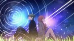 1boy 1girl back-to-back bare_legs black_jacket braid brown_hair commentary_request eyebrows_visible_through_hair grass grey_sweater hair_over_shoulder hand_on_own_chest holding_hands jacket knees_up light_particles long_hair long_sleeves looking_away nebula night night_sky nocturnal_kids_(vocaloid) on_ground profile purple_eyes purple_sky red_hair rozu_ki sandals shooting_star sitting sky smile star_trail sweater twitter_username vocaloid