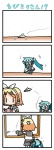 2girls 4koma >_< aqua_hair bandaid chibi chibi_miku closed_eyes comic handheld_game_console hatsune_miku kagamine_rin minami_(colorful_palette) multiple_girls paper paper_airplane playstation_portable silent_comic translated vocaloid |_|