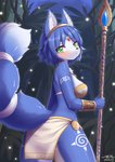 1girl animal_ear_fluff animal_ears artist_name ass back bare_arms bare_shoulders blue_hair blue_skin blush circlet closed_mouth fox_ears fox_tail from_behind fur furry green_eyes highres holding holding_staff holding_weapon jewelry krystal loincloth looking_at_viewer looking_back night outdoors pendant short_hair shoulder_tattoo staff standing star_fox tail tattoo thigh_tattoo twisted_torso weapon wolflong