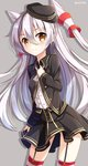1girl alternate_costume alternate_headwear amatsukaze_(kantai_collection) ascot beret black_skirt blush brown_eyes cowboy_shot garter_straps grey_background hair_between_eyes hair_tubes hand_on_own_chest hat highres kantai_collection long_hair long_sleeves looking_at_viewer military military_uniform nikkunemu pleated_skirt silver_hair simple_background skirt skirt_hold solo striped striped_legwear thighhighs twitter_username two_side_up uniform windsock