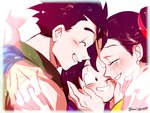 1girl 3boys artist_name black_eyes black_hair blush brothers chi-chi_(dragon_ball) closed_eyes crying dragon_ball dragon_ball_z earrings eyebrows_visible_through_hair family father_and_son forehead-to-forehead hands_on_another's_face hug jewelry looking_at_another mother_and_son multiple_boys ochanoko_(get9-sac) out_of_frame siblings simple_background son_gohan son_gokuu son_goten tears tied_hair twitter_username white_background wristband
