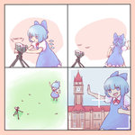 1girl blue_dress blue_hair camera cirno comic commentary dress english_commentary english_text failure forced_perspective highres running scarlet_devil_mansion self_shot thumbs_up touhou viewfinder yoruny you're_doing_it_wrong