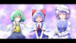 3girls ^_^ ascot blue_dress blue_eyes blue_hair bow cirno closed_eyes daiyousei dress fairy green_hair hair_bow hat hiro_(pqtks113) ice letterboxed letty_whiterock long_hair multiple_girls open_mouth purple_hair ribbon scarf seiza shoes short_hair side_ponytail sitting smile snowflakes touhou white_scarf wings