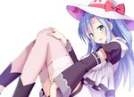1girl :d bangs blue_hair blush bow breasts center_frills copyright_request detached_sleeves eyebrows_visible_through_hair fingernails frills givuchoko green_eyes hair_between_eyes hand_on_own_knee hat hat_bow hat_ribbon head_tilt heart long_hair long_sleeves looking_at_viewer medium_breasts open_mouth red_bow red_ribbon ribbon shirt short_shorts shorts simple_background smile solo star sun_hat thighhighs very_long_hair white_background white_hat white_legwear white_shirt white_shorts wide_sleeves