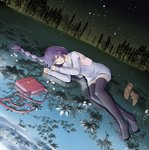 1girl bag bakemonogatari black_legwear braid fattybot flower handbag high_heels highres long_hair long_legs looking_at_viewer lying md5_mismatch monogatari_(series) night night_sky on_side purple_eyes purple_hair reflection ripples senjougahara_hitagi shoes_removed single_braid sky smile star_(sky) thighhighs vest