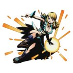 1girl blonde_hair boots breasts brown_boots brown_eyes cleavage divine_gate dress fairy_tail full_body holding key large_breasts long_hair lucy_heartfilia official_art one_leg_raised open_mouth ribbon shadow solo transparent_background twintails ucmm wrist_cuffs wrist_ribbon yellow_ribbon