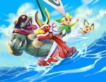 3boys blue_sky boat cloud cloudy_sky commentary day donkey_kong_country gen_2_pokemon hat highres king_k._rool link male_focus multiple_boys niko_geyer ocean outdoors pichu pirate_hat pokemon sailing scales sharp_teeth sky super_smash_bros. team_aqua_uniform teeth the_king_of_red_lions the_legend_of_zelda the_legend_of_zelda:_the_wind_waker toon_link water watercraft
