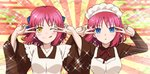 2girls :o ;q apron azami_masurao bangs blue_eyes blue_ribbon blush bow breasts commentary_request double_v emotional_engine_-_full_drive expressionless fate/grand_order fate_(series) hair_bow hair_ribbon half_updo highres hisui juliet_sleeves kohaku long_sleeves looking_at_viewer maid maid_apron maid_headdress medium_breasts multiple_girls one_eye_closed orange_eyes parody pink_hair portrait puffy_sleeves ribbon salute short_hair siblings sidelocks sisters smile tongue tongue_out tsukihime twins two-finger_salute v wa_maid