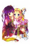 2girls absurdres arm_support bare_shoulders bishop_(chess) blonde_hair blue_eyes blush breasts bridal_gauntlets chess_piece clammy_zell elf feel_nilvalen forehead_jewel gradient_hair hair_ornament hair_rings highres kamiya_yuu large_breasts long_hair multicolored multicolored_eyes multicolored_hair multiple_girls no_game_no_life official_art open_mouth pointy_ears purple_eyes purple_hair red_eyes scan side_ponytail smile symbol-shaped_pupils thighhighs underboob very_long_hair zettai_ryouiki