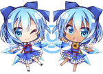 (9) 2girls barefoot blouse blue_bow blue_dress blue_eyes blue_hair blue_ribbon bow chibi cirno clone commentary_request dress dress_shirt dual_persona flower flower-shaped_pupils hair_bow hair_flower hair_ornament ice ice_wings looking_at_viewer mahina-akiko multiple_girls one_eye_closed open_mouth plant puffy_short_sleeves puffy_sleeves red_bow red_ribbon ribbon shirt short_hair short_sleeves smile sunflower sunflower_hair_ornament tan tanline tanned_cirno touhou vines white_blouse white_shirt wings