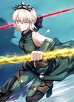 1girl artoria_pendragon_(all) artoria_pendragon_(swimsuit_rider_alter) bangs bare_shoulders belt black_bow blonde_hair blue_background bow braid breasts commentary_request cosplay elbow_gloves fal fate/grand_order fate/zero fate_(series) french_braid gae_buidhe gae_dearg gloves green_gloves green_pants grin hair_bow highres jewelry lancer_(fate/zero) lancer_(fate/zero)_(cosplay) medium_breasts necklace pants polearm saber_alter smile spear tiara weapon yellow_eyes