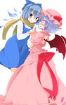2girls aoi_(annbi) bat_wings blue_bow blue_eyes blue_hair blush bow cirno cirno-nee dress hair_bow hat hat_ribbon highres ice ice_wings looking_at_another mob_cap multiple_girls pointy_ears red_ribbon remilia_scarlet ribbon scarf short_hair simple_background standing touhou white_background wings yuri