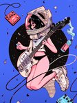 1girl absurdres astronaut_helmet bare_legs black_hair blue_background bottle circle crisalys electric_guitar guitar helmet highres instrument liquid midriff navel original pedal_(instrument) profile shirt shoes solo white_footwear white_shirt