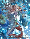 1girl bare_shoulders blue_eyes breasts cleavage company_name electricity fish force_of_will hair_ornament horns japanese_clothes long_hair mermaid midriff monster_girl multicolored_hair nanahara_shie navel official_art open_mouth oriental_umbrella pale_skin rain red_hair shaela_(force_of_will) solo two-tone_hair umbrella white_hair