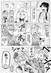 5girls alternate_costume closed_eyes comic commentary_request crown directional_arrow dodging emphasis_lines english_text food fruit greyscale hair_between_eyes hairband headgear highres hood hoodie houshou_(kantai_collection) intrepid_(kantai_collection) japanese_clothes kantai_collection kimono long_hair long_sleeves mini_crown monochrome multiple_girls munmu-san nelson_(kantai_collection) open_mouth ponytail richelieu_(kantai_collection) short_hair smile sparkle speech_bubble speed_lines tasuki translated triangle_mouth umeboshi v-shaped_eyebrows warspite_(kantai_collection)