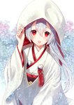 1girl :d arm_up bangs blue_flower blurry blush commentary_request depth_of_field eyebrows_visible_through_hair fate/grand_order fate_(series) fingernails floating_hair floral_print flower flower_knot grey_hair hair_between_eyes hand_on_headwear highres hood hood_up japanese_clothes kimono light_particles long_hair long_sleeves looking_at_viewer nunucco obi open_mouth pink_flower ponytail print_kimono red_eyes sash shiny shiny_hair smile solo tassel tomoe_gozen_(fate/grand_order) uchikake upper_teeth white_background wide_sleeves