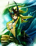 1girl between_breasts blonde_hair breasts brown_eyes center_opening large_breasts league_of_legends looking_at_viewer mermaid monster_girl nami_(league_of_legends) solo waterring