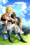 2boys black_hair blonde_hair blood bloody_clothes blue_sky boots bruise cloud dougi dragon_ball dragon_ball_z earrings gloves gogeta grass green_eyes highres indian_style injury jewelry kim_yura_(goddess_mechanic) male_focus multiple_boys muscle potara_earrings signature sitting sky spiked_hair super_saiyan torn_clothes vegetto vest white_boots white_gloves zzz