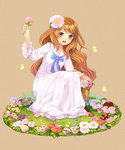 1girl absurdres basket brown_eyes brown_hair dress flower frilled_dress frilled_sleeves frills grass hair_flower hair_ornament highres long_dress long_hair sailor_dress simple_background smile solo squatting tsubasa_tsubasa very_long_hair