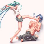 1boy 1girl >_< abs angry aqua_hair ass barefoot blue_hair blush clenched_hands clenched_teeth closed_eyes denim denim_shorts feet fingernails foot_on_face foot_smother full_body hair_ornament hands_up hatsune_miku highres jeans kaito kicking kneepits long_hair midriff nail_polish o_o outstretched_arms pants pants_down pants_pull profile shirt shirtless short_hair shorts simple_background sleeveless sleeveless_shirt small_breasts soles standing_on_one_leg stepped_on teeth toenail_polish toenails toes translated twintails very_long_hair vocaloid wokada