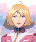 1girl ahoge blonde_hair cloud cloudy_sky eyebrows_visible_through_hair fateline_alpha gundam highres lipstick looking_at_viewer makeup mobile_suit_gundam outdoors parted_lips portrait red_lipstick sayla_mass short_hair sky smile solo uniform upper_body