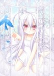 1girl :o ahoge albino animal bangs bare_arms bare_shoulders barefoot between_legs bird birdcage blue_sky bluebird blush cage cloud commentary_request day dress eyebrows_visible_through_hair fingernails hair_between_eyes hand_between_legs himetsuki_luna long_hair original outdoors outstretched_arm parted_lips red_eyes silver_hair sitting sky sleeveless sleeveless_dress soles solo strap_slip very_long_hair wariza white_dress