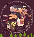 1girl beautifly bike_shorts blue_eyes blush brown_hair claydol gloves haruka_(pokemon) highres looking_at_viewer nabeko open_mouth pokemon pokemon_(game) pokemon_rse tree