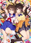 2girls :d black_footwear black_hair blue_skirt bow bowtie breasts brown_hair can capsule cardcaptor_sakura cellphone checkered checkered_skirt collarbone commentary_request computer crepe digital_media_player doll earbuds earphones eraser eyebrows_visible_through_hair famicom famicom_gamepad flip_phone food french_fries furby game_boy game_console hair_between_eyes hair_ornament hairpin handheld_game_console heisei hello_kitty highres holding_hands jacket knee_up laptop long_hair loose_socks lying makeup mcdonald's medium_breasts mika_pikazo multiple_girls on_back one_eye_closed open_mouth origami original paper_crane pen phone pikachu pill pipimi playstation pleated_skirt poptepipic popuko red_neckwear school_uniform serafuku shirt shoes_removed skirt smartphone smile socks soda_can stopwatch straight_hair sweater tamagotchi thighhighs wand watch white_shirt yellow_eyes yellow_shirt zettai_ryouiki