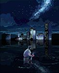 androgynous cityscape cloud cup facing_away kayo_(46996116) mug night night_sky original pixel_art reflection scenery shirt sitting sky solo star_(sky) starry_sky water white_shirt