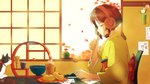 1girl album_cover autumn_leaves bamboo blue_eyes brown_hair cat chair cover cup day food headphones indoors japanese_clothes kimono mug official_art profile short_hair solo table twin-mix yellow_kimono