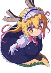 1girl \||/ absurdres bangs breasts brown_horns colored_eyelashes cool-kyou_shinja cravat dragon_girl dragon_horns dragon_tail elbow_gloves eyebrows_visible_through_hair full_body gloves gradient_hair green_scales hair_between_eyes highres horns kobayashi-san_chi_no_maidragon lace lace-trimmed_gloves large_tail leaning_forward legs_together long_hair looking_at_viewer maid_headdress multicolored multicolored_eyes multicolored_hair orange_eyes orange_hair parted_hair pink_hair puffy_short_sleeves puffy_sleeves raised_eyebrows red_eyes red_neckwear scales short_sleeves simple_background sketch_eyebrows slit_pupils solo tail tooru_(maidragon) twintails white_background white_gloves wide-eyed