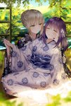 2girls absurdres artoria_pendragon_(all) bangs black_kimono blue_sky blurry blurry_foreground bow braid breasts closed_eyes closed_mouth cloud cloudy_sky commentary day depth_of_field eyebrows_visible_through_hair fate/stay_night fate_(series) floral_print hair_between_eyes hair_bow hair_bun highres holding_hands huge_filesize indoors interlocked_fingers japanese_clothes junpaku_karen kimono light_brown_hair long_sleeves looking_at_another matou_sakura medium_breasts multiple_girls obi parted_lips print_kimono purple_hair saber_alter sash sidelocks sky smile symbol_commentary tree white_bow white_kimono wide_sleeves wooden_floor yellow_eyes