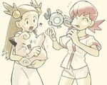 !! +++ 2girls :d >_< ^_^ akane_(pokemon) bangs bare_arms breasts brown_hair carrying cheek_pull clefairy closed_eyes cowboy_shot donnpati dress eyelashes fingernails flying_sweatdrops furrowed_eyebrows gen_1_pokemon grey_eyes gym_leader hair_bobbles hair_ornament hands_up holding_pokemon laughing legs_apart long_hair looking_at_another magnemite magnet medium_breasts mikan_(pokemon) multiple_girls open_mouth pink_hair pokemon pokemon_(creature) pokemon_(game) pokemon_gsc screw shirt short_hair short_sleeves shorts simple_background smile standing straight_hair sugimori_ken_(style) sweat tongue twintails two_side_up white_dress white_shirt white_shorts