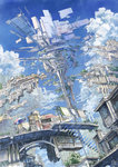 2013 architecture artist_name building city cloud dated floating_city highres k_kanehira kooribata laundry_pole no_humans original pot scenery sky stairs stall tree umbrella window