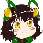 1girl antennae bangs black_hair blush_stickers chibi closed_mouth drawfag extra_eyes eyebrows_visible_through_hair face gyate_gyate looking_at_viewer mantis_(monster_girl_encyclopedia) monster_girl monster_girl_encyclopedia neck_ribbon non-web_source red_ribbon ribbon short_hair simple_background solo white_background yellow_eyes