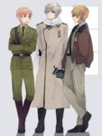 3boys america_(hetalia) axis_powers_hetalia belt black_gloves blonde_hair crossed_arms eyebrows full_body gloves green_eyes grey_background hand_in_pocket highres hita_(hitapita) jacket light_smile looking_at_another male_focus military military_uniform multiple_boys open_clothes open_jacket russia_(hetalia) sam_browne_belt scarf silver_eyes silver_hair thick_eyebrows uniform united_kingdom_(hetalia) window
