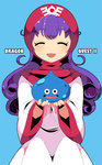 1girl :d ^_^ bangs blue_background blush closed_eyes copyright_name curly_hair dragon_quest dragon_quest_ii dress eyebrows_visible_through_hair holding hood hood_up long_hair long_sleeves mzh open_mouth princess_of_moonbrook purple_hair slime_(dragon_quest) smile white_dress wide_sleeves