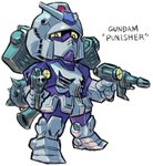 aburaya_tonbi beam_rifle character_name chibi dual_wielding energy_gun flail full_body fusion gundam holding looking_at_viewer mechanization mobile_suit_gundam morning_star punisher rx-78-2 simple_background solo standing the_punisher weapon weapon_on_back white_background yellow_eyes