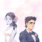 1boy 1girl black_hair blue_eyes boxing_gloves dress formal grey_eyes little_mac long_hair pockypalooza ponytail punch-out!! smile suit super_smash_bros. super_smash_bros._ultimate wedding_dress white_skin wii_fit wii_fit_trainer