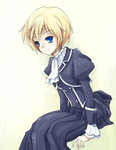 1girl alphal_(aar64210) avril_bradley blonde_hair blue_eyes dress gosick school_uniform short_hair sitting smile solo