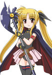 1girl arm_belt bangs bardiche belt black_gloves blonde_hair cape cowboy_shot fate_testarossa gloves hair_ribbon long_hair looking_at_viewer low-tied_long_hair lyrical_nanoha magical_girl mahou_shoujo_lyrical_nanoha mahou_shoujo_lyrical_nanoha_the_movie_1st parted_lips pleated_skirt red_eyes ribbon skirt smile solo standing thighhighs twintails very_long_hair wan'yan_aguda white_background